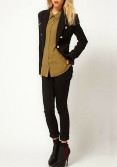Love this look! Coffee Color Plain Studded Lapel Long Sleeve Chiffon Blouse #chic #style #fashion