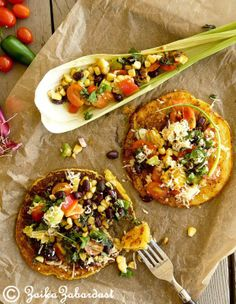Corn cakes with salad