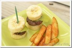 """Chocolate Banana Burgers and Cinnamon Fries 