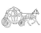 Princess Cinderella And Princes Kiss In The Carriage Horse Coloring Page
