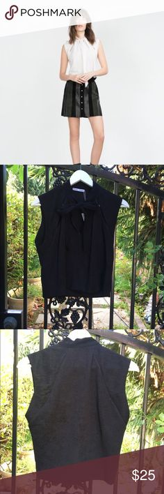 Zara Crop Tie Blouse in Black in Size L Adorable cropped tie neck top in black. NWT, only tried on once! Zara Tops