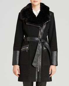 Via Spiga Faux Leather And Faux Fur Collar Coat via Bloomingdales