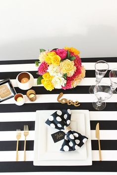 Polka Dots and Stripes in Black and White   Hey Design Lady   Sparkles and Stripes - Kate Spade Wedding Inspiration!