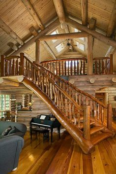 Rustic log home - tree branch / logs railing / staircase stairs - fantasy fairytale dream house.great loft for the living room! Log Cabin Living, Log Cabin Homes, Log Cabins, Barn Homes, Mountain Cabins, Mountain Homes, Cozy Living, Rustic Home Interiors, Rustic Homes
