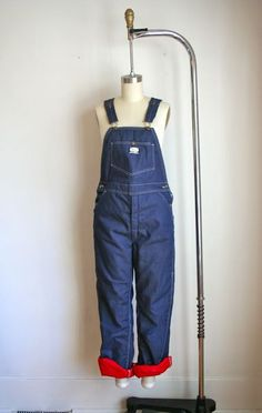vintage bib front overalls  OSHKOSH red quilted lined by MsTips, $58.00
