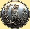 Silvered Brass Livery Owl button