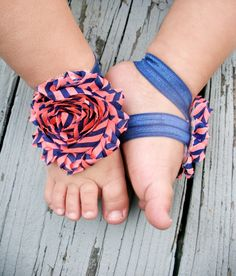 Baby Barefoot Sandals .. Watermelon and Navy Flowers .. Toddler Sandals .. Newborn Sandals. $6.50, via Etsy.
