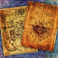 Marauders Map Hogwarts Paper Hogsmeade Harry Potter by rosaliks
