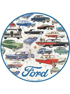 """Ford Parade"" Parasol by Retro-a-go-go (White) #inked #inkedshop #inkedmagazine #ford #umbrella"