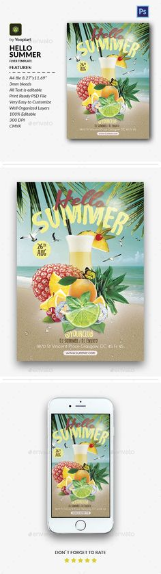 Hello #Summer #Flyer - Events Flyers Download here: https://graphicriver.net/item/hello-summer-flyer/20185220?ref=alena994