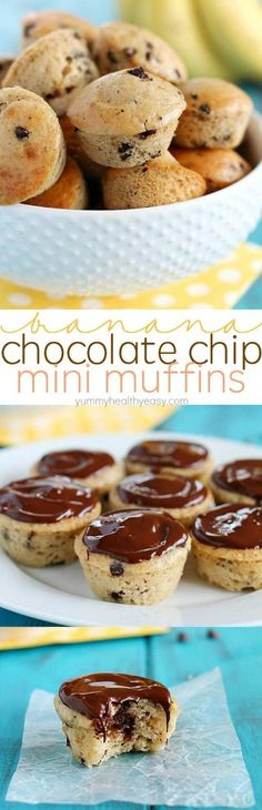 Banana Chocolate Chip Mini Muffins – a great breakfast to start your day or the perfect snack/dessert to satisfy your sweet tooth! (only 4 main ingredients!)