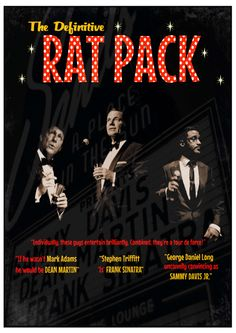 The Definitive Rat Pack - Monday 23rd September at the Battersea Barge! A rare opportunity to catch the original Rat Pack cast with a swinging 7-piece band in the intimate surroundings of the barge before they embark on a European tour. Tickets for £15 from www.wegottickets.com/event/237925.