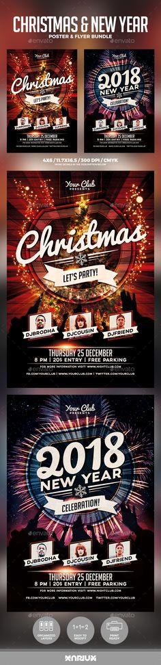 Buy Christmas and New Year Flyer Bundle by Mariux on GraphicRiver. Check out the SOCIAL BUNDLE version here Christmas and New Year Flyer and Poster Bundle Print dimensions: . 1st Christmas, Christmas And New Year, Xmas, Party Flyer, Nye Party, Christmas Flyer Template, New Year Designs, New Years Poster, Free Park