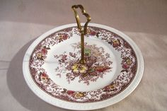 Royal TudorWare Cake Plate Olde Staffordshire Pattern Roses Vintage Barker Bros by okanaganvintage on Etsy