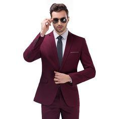 (Jacket+Vest+Pants) Business Party Dress Wedding Suits For Men Slim Fit Tuxedo Costume Homme Mens Groom Suit Pink White Red Blue Slim Fit Tuxedo, Slim Fit Suits, Slim Fit Jackets, Tuxedo Suit, Tailored Suits, Suit Jackets, Mens Groom Suit, Mens Suits, Costume Rouge Bordeaux