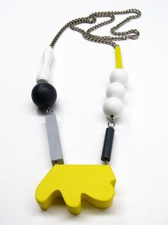 yellow white dark grey and light grey wood and by FashionSaboteur, $150.00