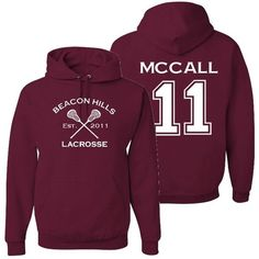 Adult Teen Wolf Beacon Hills Lacrosse McCall 11 Hoodie ($36) ❤ liked on Polyvore featuring tops, hoodies, sweatshirts hoodies, women tops, henley hoodie, purple hoodie and hooded pullover