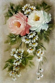 Acrylic Painting Flowers, Watercolor Painting Techniques, Fabric Painting, Watercolor Flowers, Watercolor Paintings, China Painting, Painting Patterns, Paper Flowers Roses, Vintage Flowers
