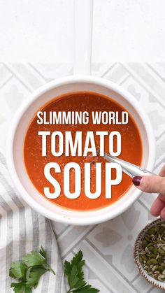 This delicious homemade Tomato Soup is easy to make on the stove, Soup Maker or the Instant Pot. Packed with flavour, vegan or vegetarian and Syn Free on Slimming World Slimming World Soup Recipes, Best Soup Recipes, Beef Recipes For Dinner, Healthy Soup Recipes, Ground Beef Recipes, Vegan Slimming World, Easy Cabbage Soup, Cabbage Soup Recipes, Tomato Soup Recipes