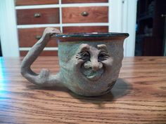 "UGLY FACE MUG David L. Davis Signed ""DLD"" sticking out Tongue Old Man Stoneware   | eBay"