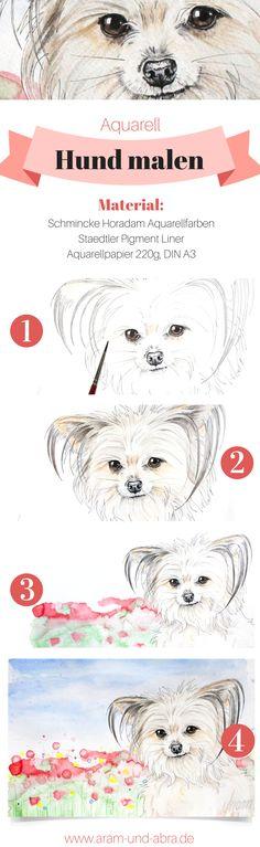Schritt für Schritt: #Hund malen in Aquarell   Portrait   #Zeichnen   DIY   Tipps   Anleitung   kreativ   Kunst   Tierportrait   Hunde   Yorkshire Terrier   Chihuahua   Aram und Abra   www.aram-und-abra.de