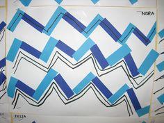 Lignes brisées- Graphisme- collage bandes de papier et feutre