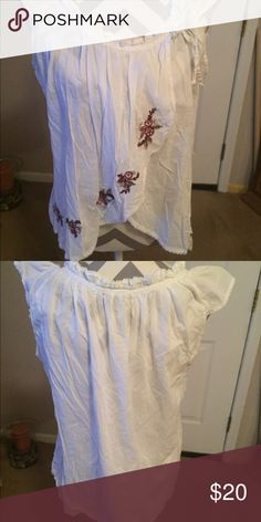 American Rag Boho top American Rag. Boho top.   Size Large.  White and red. 100% Cotton American Rag Tops Blouses