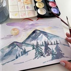 Watercolor Art by Design Team Member Anna. You can find her at @dearannart  Click to see all our watercolor products.  #artphilosophy  #primamarketinginc  #artphilosophywatercolor #watercolor #art Finetec Watercolor, Watercolor Books, Sketchbook Inspiration, Quick Sketch, Lettering, Art Pictures, Coloring Books, Craft Projects, Landscape