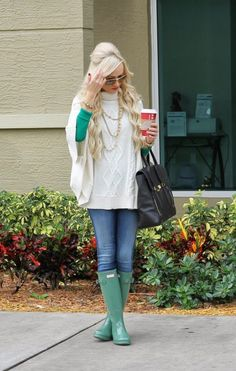 cable knit with hunter boots bmodish
