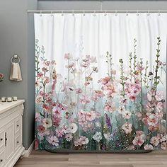Colorful Shower Curtain, Flower Shower Curtain, Floral Shower Curtains, Shower Curtain Hooks, Bathroom Shower Curtains, Bathroom Pink, Girl Bathrooms, Bathroom Ideas, Modern Bathroom Accessories