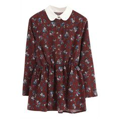 Stylish Graphic Floral Tunic Top (€18) ❤ liked on Polyvore featuring tops, tunics, dresses, vestidos, blouses, graphic shirts, long sleeve peter pan collar shirt, floral long sleeve shirt, red floral shirt and floral tunic
