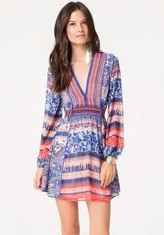 Mix Print Tie Back Dress - All Dresses | bebe