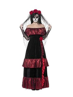Smiffys Women's Day of the Dead Bride Costume, Dress and Rose Veil, Day of the Dead, Halloween, Size 43739 Best Halloween Costumes & Dresses Dead Bride Costume, Zombie Bride Costume, Horror Costume, Halloween Zombie, Halloween Fancy Dress, Cool Halloween Costumes, Halloween Outfits, Full Body Costumes, Adult Costumes