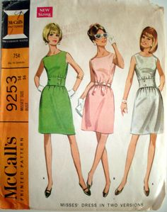 Vintage 1968 McCalls 9253 Mod Retro Dress Sewing Pattern size 14 bust 36 on Etsy, $5.00