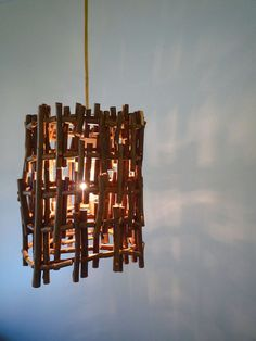 Hanging Twig Lamp  Handmade light from twigs and by TheLightStore, $170.00