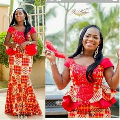 Kente Fabric Designs: See These Kente Styles For Fashionable Ladies - Lab Africa Kente Dress, Ankara Dress Styles, African Wear Dresses, Kente Styles, Latest African Fashion Dresses, African Print Fashion, African Outfits, African Wedding Attire, African Attire