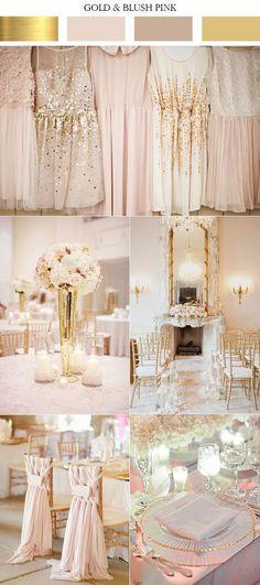 feminine gold and blush pink elegant wedding color ideas