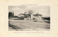 """View of the church """"Holy Sunday"""" in 1917. In the foreground is the road to Prilep and the railroad has not yet been built."""