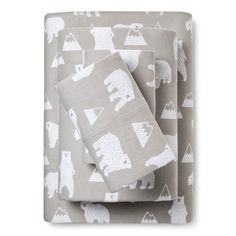 The Polar Bear Flannel Sheet Set from Pillowfort brings a modern yet playful motif to the room. The sheets makes use of classic neutral hues, so it fits easily with nearly any bedroom color scheme. Baby Boy Rooms, Baby Boy Nurseries, Baby Cribs, Baby Room, Camping Room, Camping Gear, Camping Equipment, Bear Nursery, Twin Sheet Sets