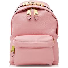 Moschino Leather Backpack ($885) ❤ liked on Polyvore featuring bags, backpacks, pink, leather zipper backpack, leather bags, moschino, red backpack and strap backpack