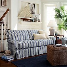 Blue And White Striped Sofa Beachy Nautical Living Room Bayside From Crate
