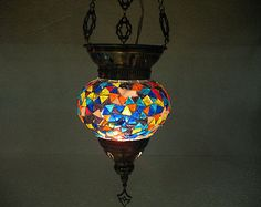 Turkish blue mosaic hanging lamp glass light lampe mosaique Türkische lamp 16