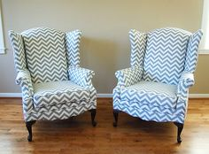 Chevron Wingback Chairs