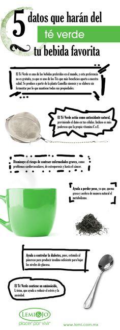 Infografía: 5 datos que harán del Té Verde tu bebida favorita. #salud y…