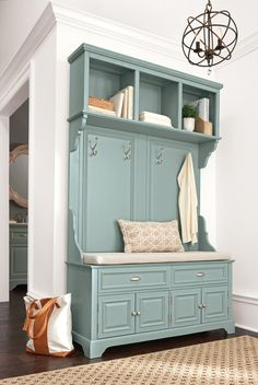Give your entryway style and storage space. Our new Sadie Hall Tree has that classic cottage style you'll love. A comfy seat cushion makes putting on and taking off shoes much easier. Four hooks hang for jackets, scarves and more. Plus cubbies and drawers offer extra storage. Available at Home Decorators Collection.