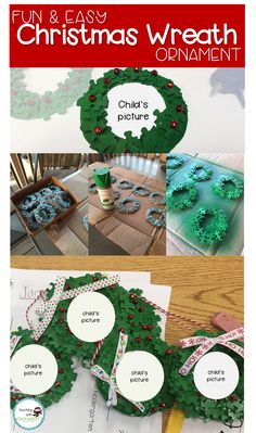 Directions for a fun, easy, and inexpensive Christmas gift that students can make for their parents!  The puzzle piece wreath is super cute and putting the child's picture in it is a great keepsake!  Directions are easy to follow!  Great for kids kindergarten through 5th grade!