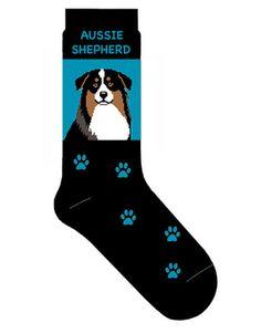Australian Shepherd Dog Socks Lightweight Cotton Crew Stretch Egyptian Made $9.99 at DogLoverStore.com