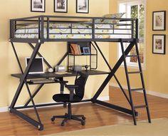 20 cool bunk bed with desk designs - Metal Frame Loft Bed