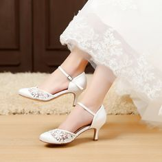 75874e7ed688 LUXVEER Women Wedding Sandals with Silver Rhinestone and Lace Butterfly -  Heels 2 inch