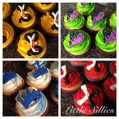 Descendants themed cupcakes. Jay, Mal, Evie, Carlos.